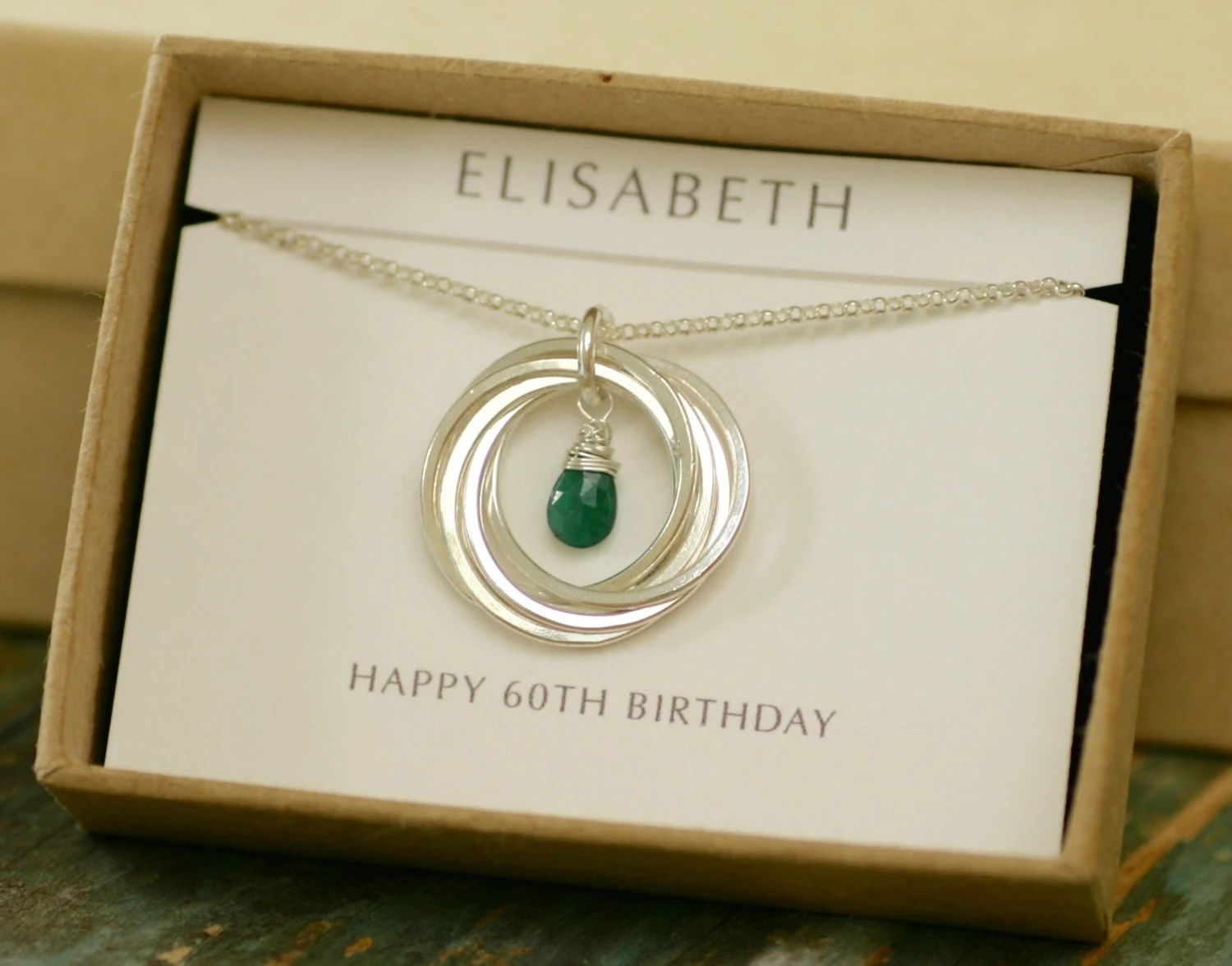 60th Birthday Gift For Mum Gift For Women Emerald Necklace