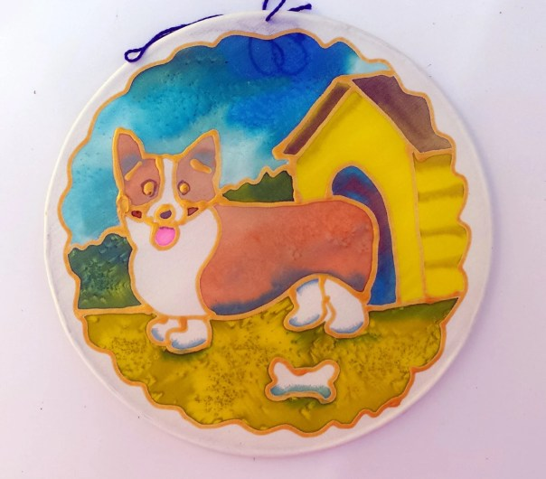 "Corgi dog on Silk Suncatcher, Original hand painted silk art, 6"" diameter sun catcher by artist, stained glass look, window art, wall decor"