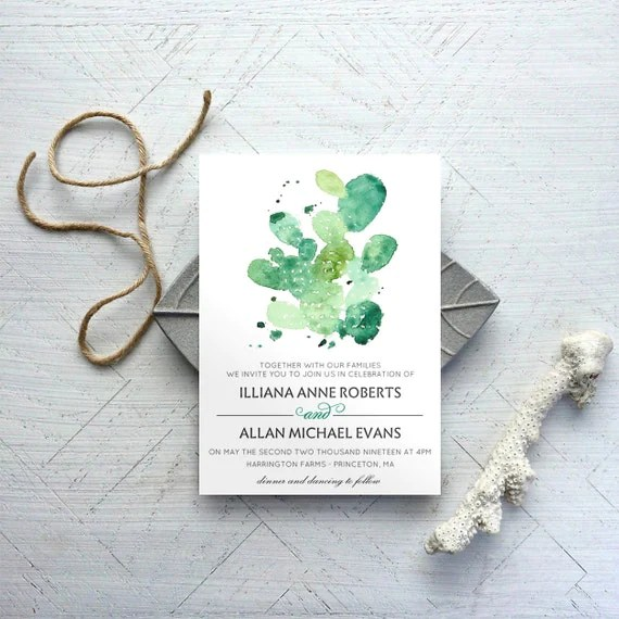 Printable Cactus Wedding Invitation Template And RSVP Austin