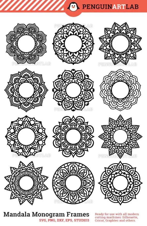 Download Mandala Circle Monogram Frame SVG Cut Files for Electronic ...