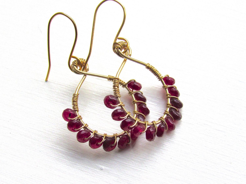 Ruby Hoop Earrings Red Ruby Earrings Gemstone Hoop Earrings