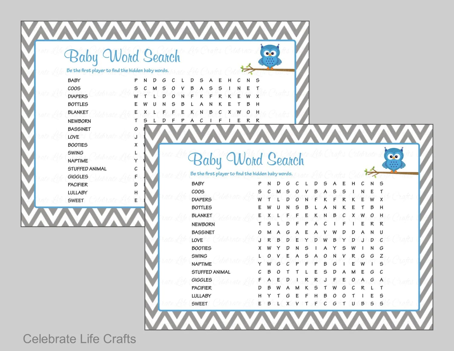 Baby Word Search Baby Shower Game With Answer Key Printable