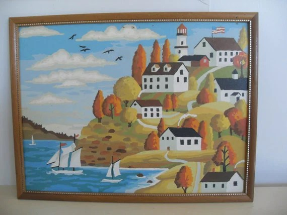 Vintage Paint by Number Painting of an Autumn Seaside Country Village Scene,Vintage Wall Art