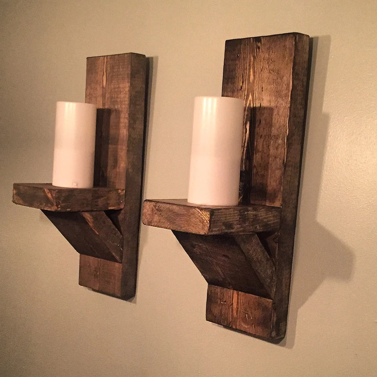 Rustic Candle Sconce Pair//Wall Sconce//Farmhouse on Rustic Wall Sconces id=93353