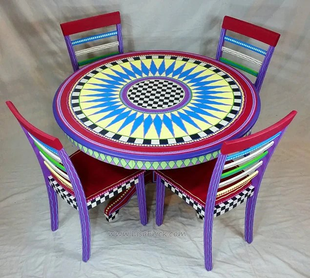 custom made to order hand painted dining table and four chairs on hand painted dining room tables id=61313