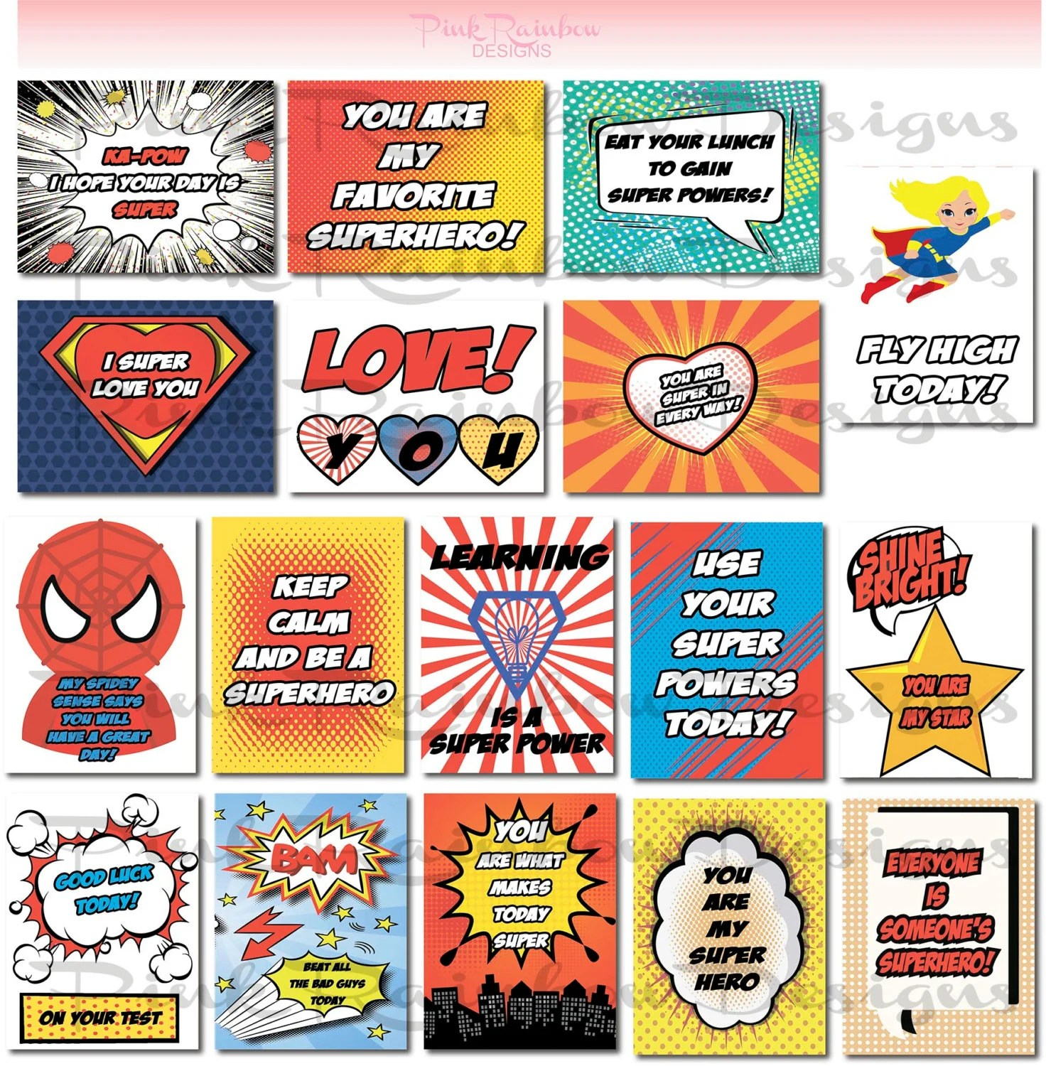 Superhero Lunch Box Note Cards With Motivational Messages For Kids Children Kindergarten