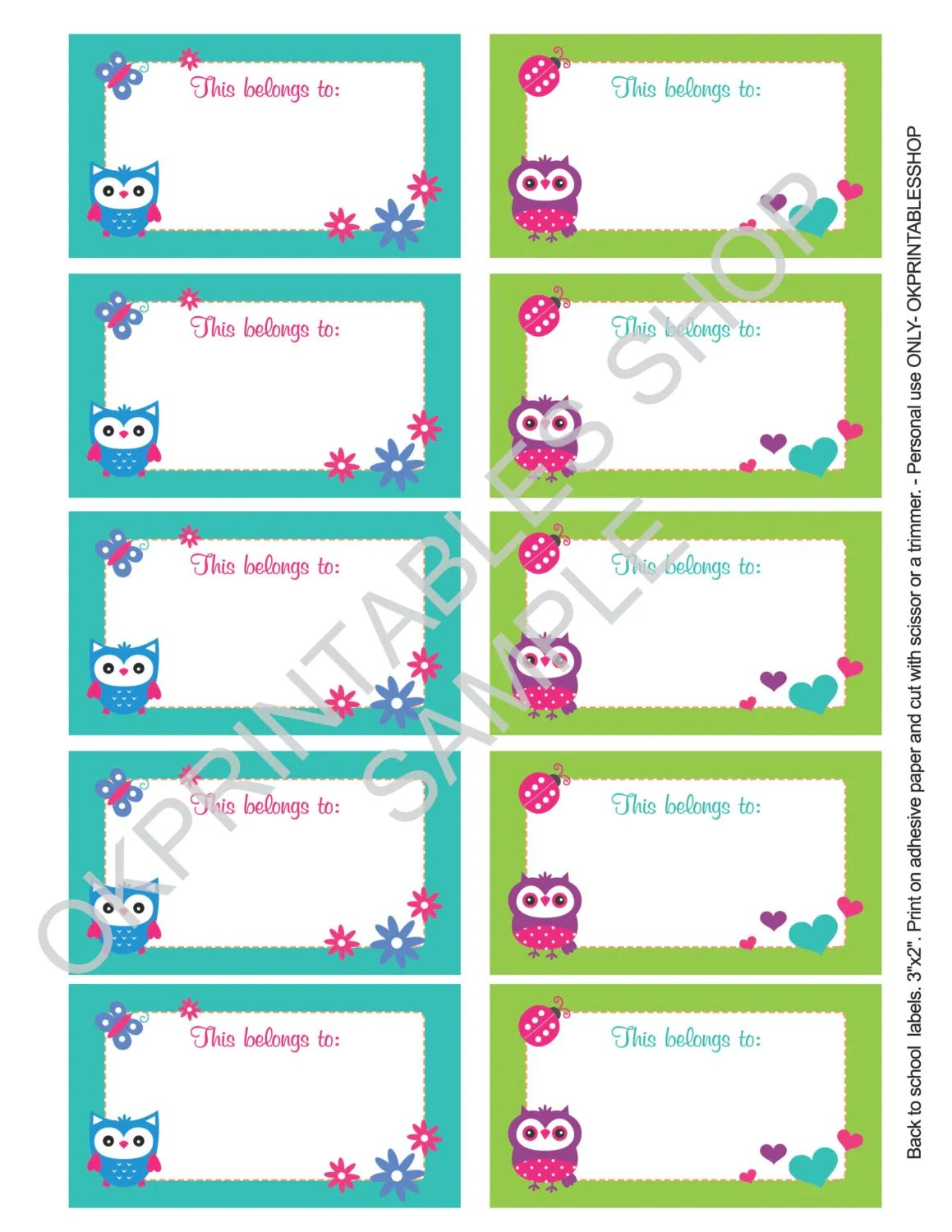Printable Cute Owls D 02 Labels For School By Okprintablesshop