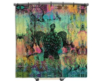 shower curtain abstract art teal turquoise blue home decor
