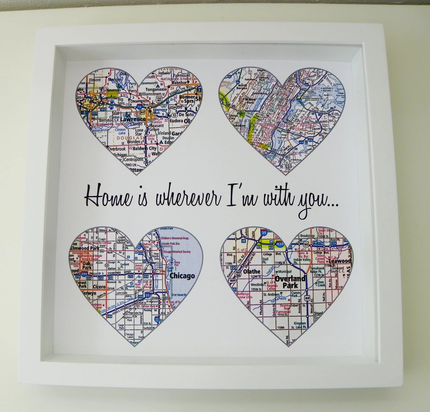 Unique Wedding Gift Personalized Map Heart Art By