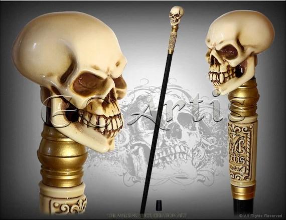 SKULL WALKING STICK gothic authors made Bone effect handle ...