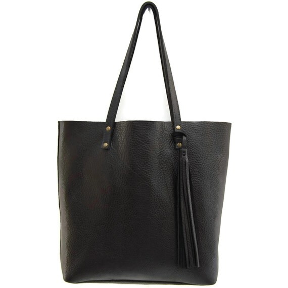 Black Leather Tote Bag Market Bag In Your Choice Of Saddle