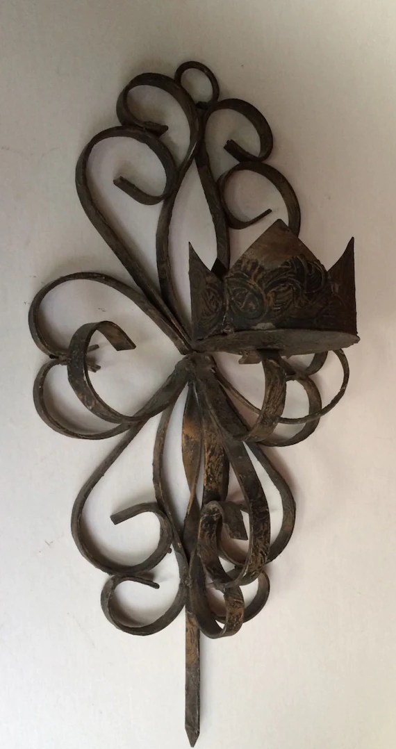 Vintage Black Wrought Iron Gothic Candle Sconce Wall Hanging on Antique Wrought Iron Wall Candle Holders id=93188