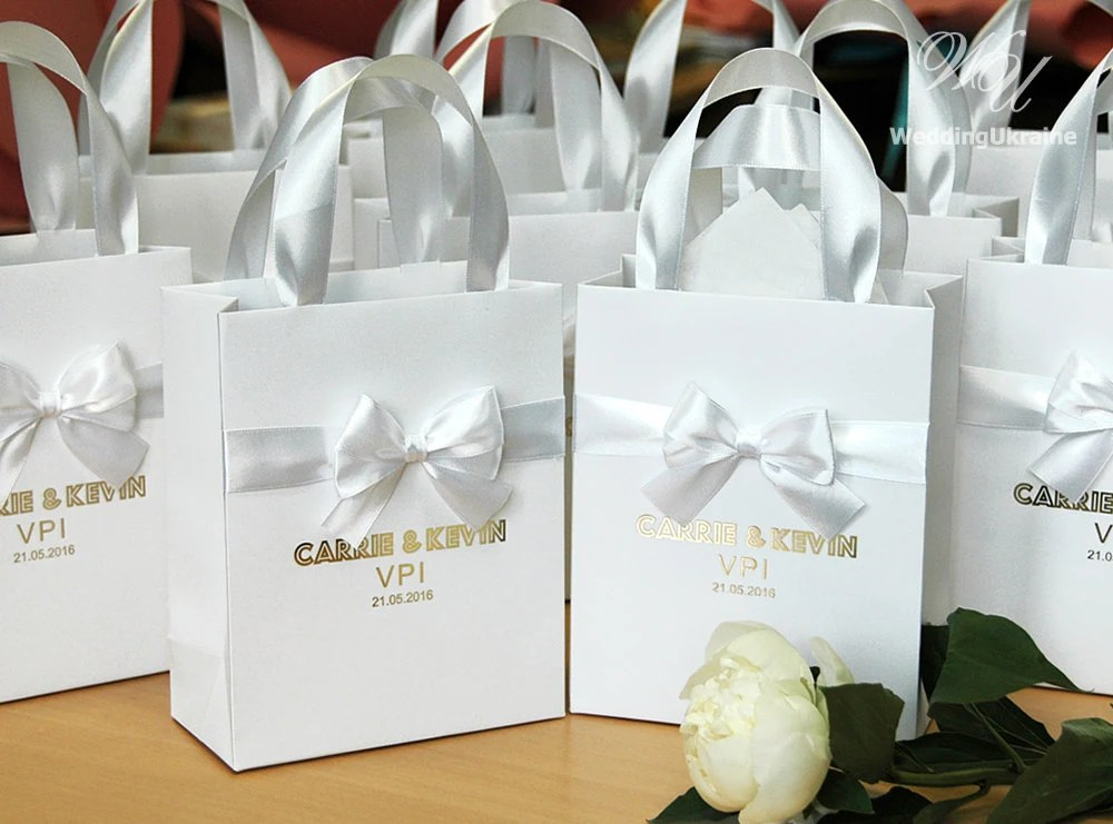 70 Luxury Wedding Gift Bags With Satin Ribbon Bow And Gold