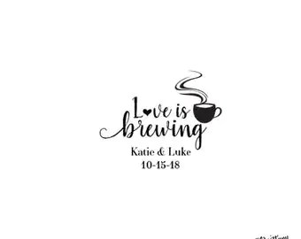 Download Love is brewing stamp | Etsy