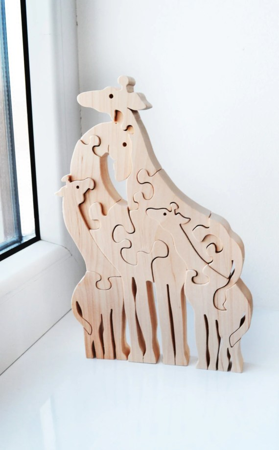 Christmas Kids gifts, Animal puzzle, Wooden Puzzle giraffe, Puzzle Toy, Kids gifts, Wooden giraffe, big giraffes family