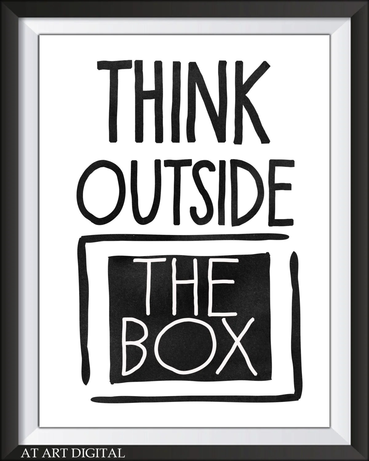 Sale Inspirational Quote Think Outside The Box Art Print