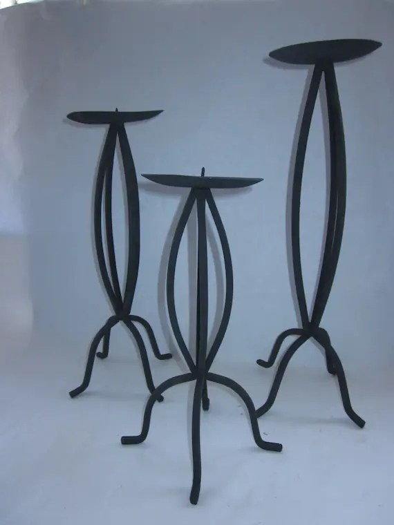Black Wrought Iron Candle Holders MCM style set of 3 candle on Black Wrought Iron Wall Candle Holders id=88709