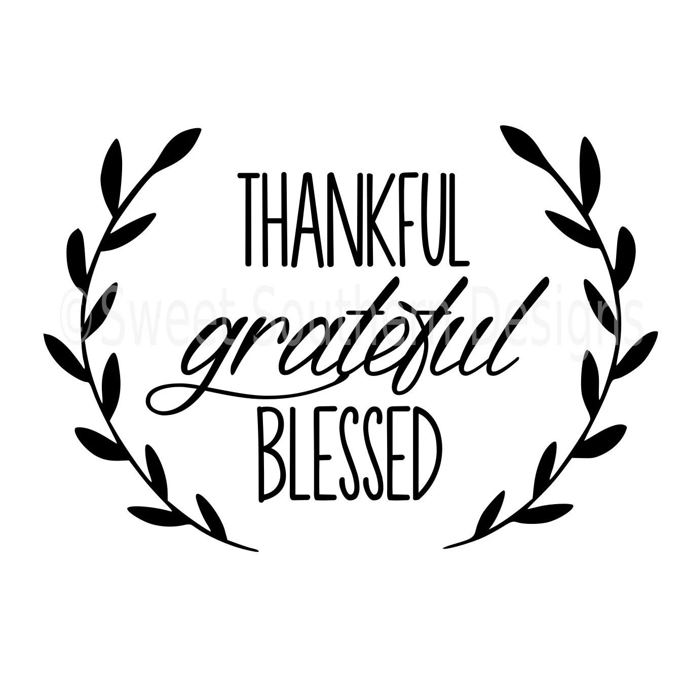Thankful Grateful Blessed Laurel Wreath Svg Instant Download