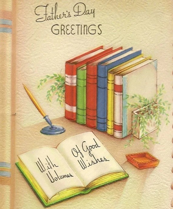 Vintage Fathers Day Greeting Card Book Shaped 1943 Open Book