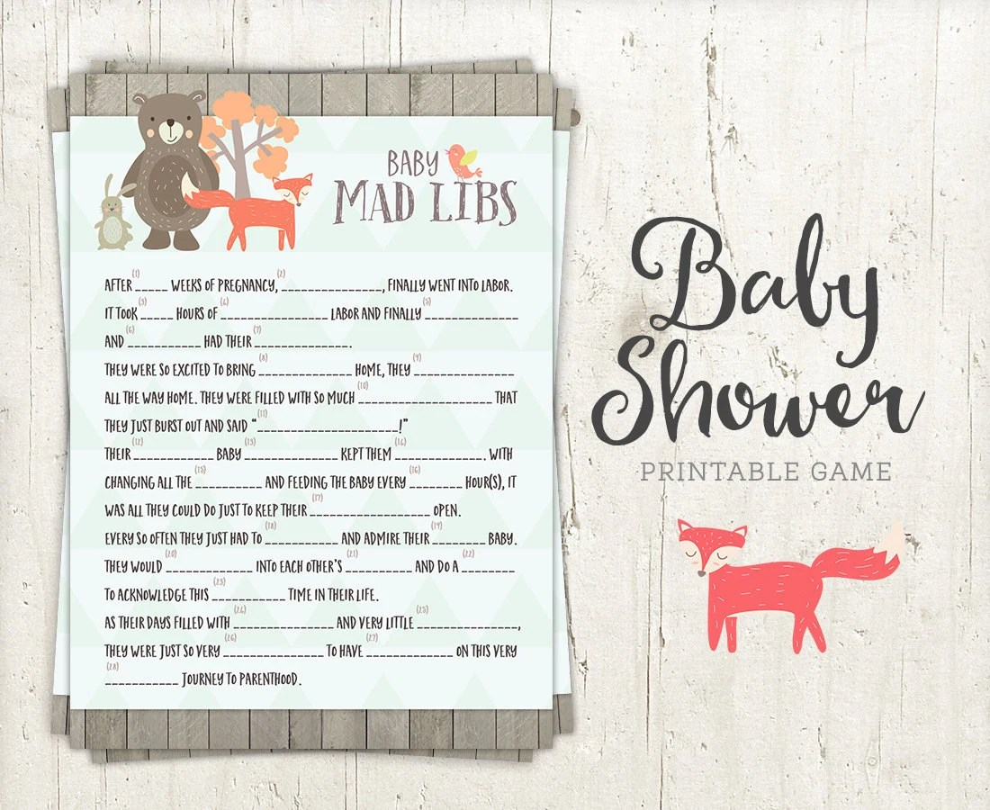 Mad Libs Game Baby Shower Game Printable Fun Baby Shower