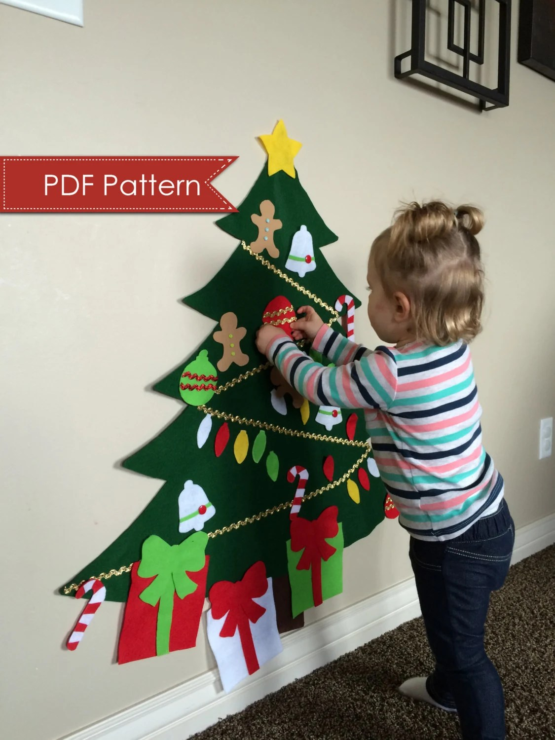 Felt Christmas Tree Digital Pattern No Sew Diy Printable
