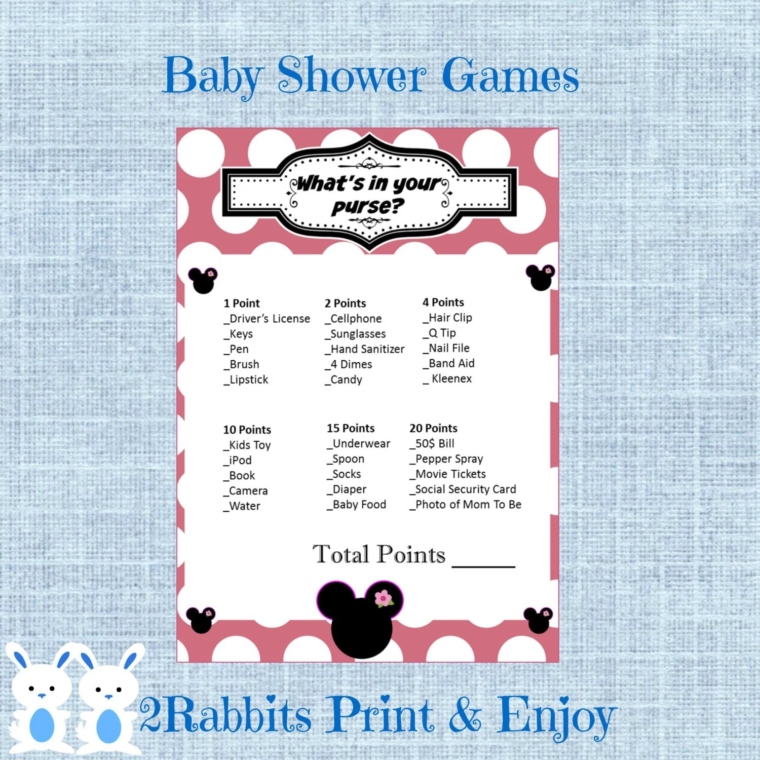 Minnie Mouse What S In Your Purse Baby Shower Game Minnie