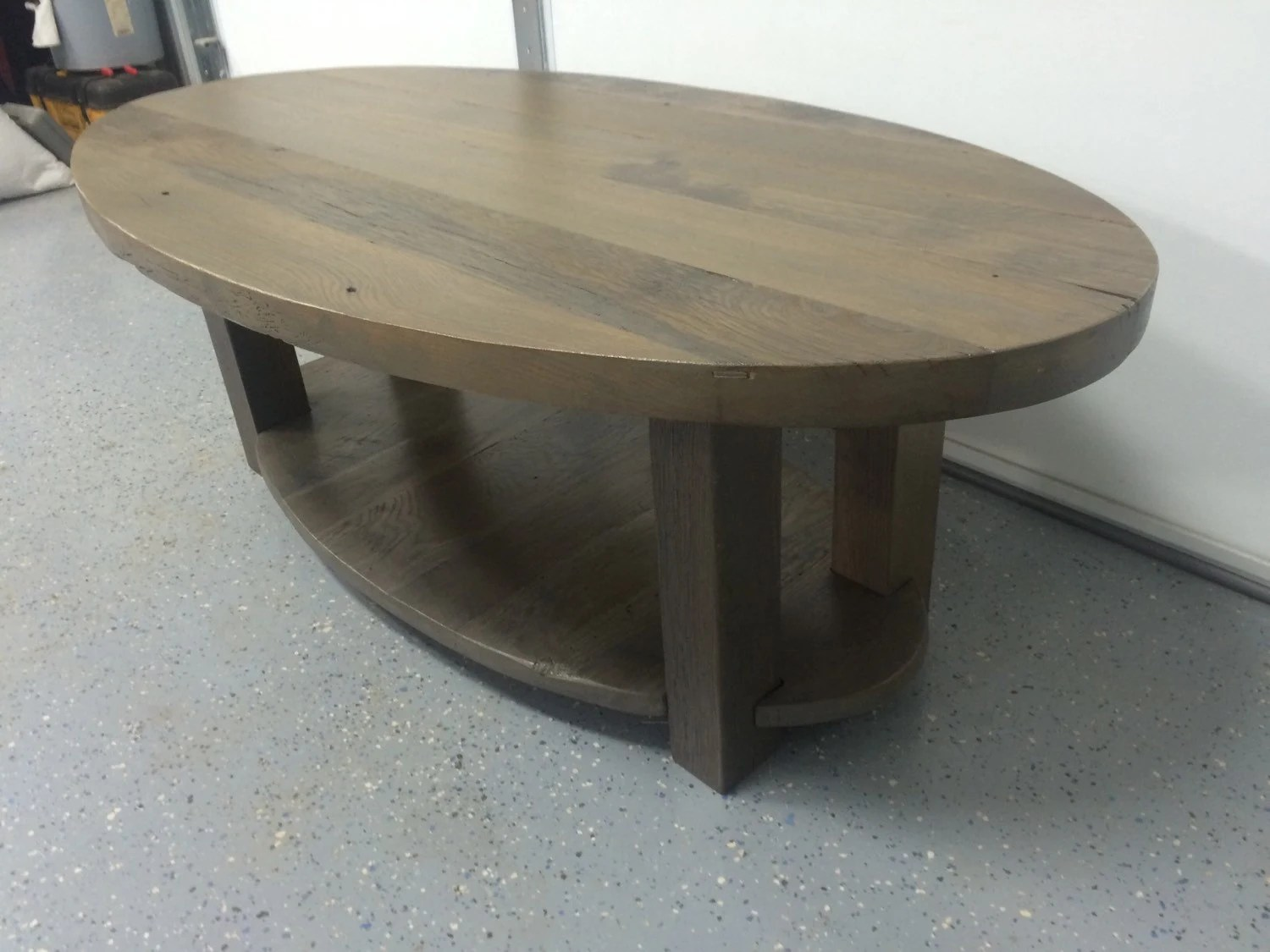Reclaimed Wood Coffee Table. Oval Solid Oak Barn Wood Top And