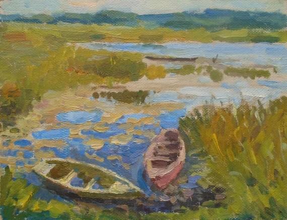 VINTAGE ORIGINAL RIVERSCAPE Original Oil Painting, 1970s Boats painting, Nature landscape, Soviet Ukrainian Fine Art