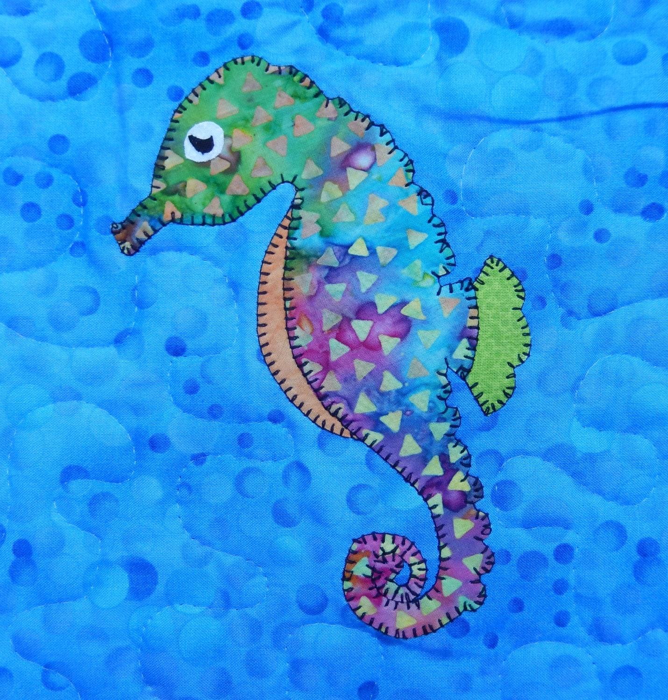 Seahorse Applique Pattern Marine Or Ocean Animal Quilt