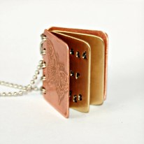 Life Begins At The End Of Your Comfort Zone - Metal Book Pendant - Copper, Brass with Etched Cover - Can Be Personalized