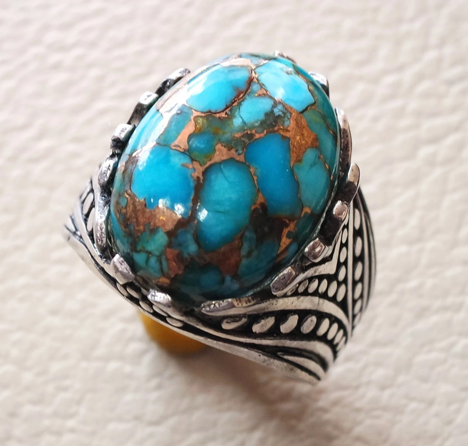 Natural Copper Turquoise Oval Cabochon Men Ring Sterling