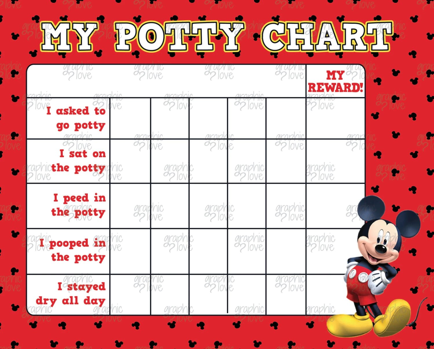Mickey Mouse Potty Training Chart FREE Punch By