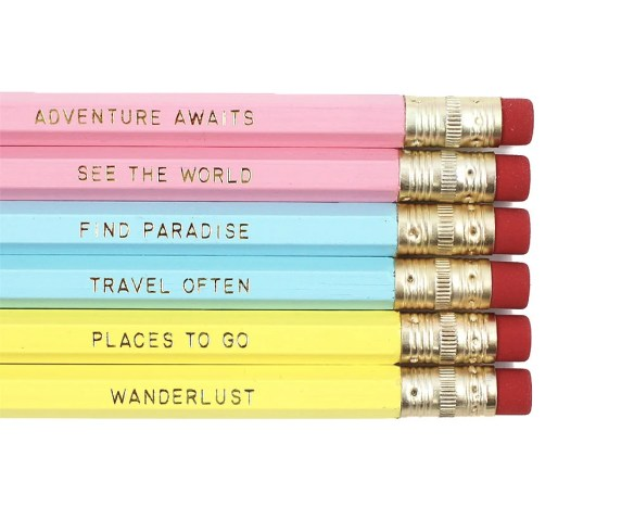 Set of 6 Travel Quote Pencils / Adventure Awaits / Traveling / Travel Often / Wanderlust / Find Paradise / See the World / Places to Go