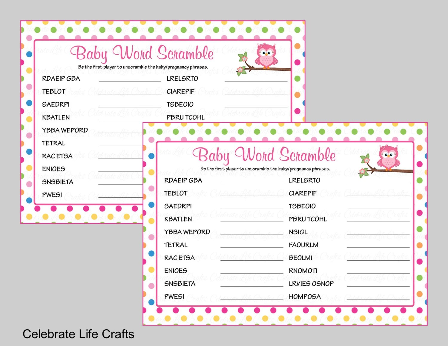 Owl Baby Shower Word Scramble Game With Answer Key Printable