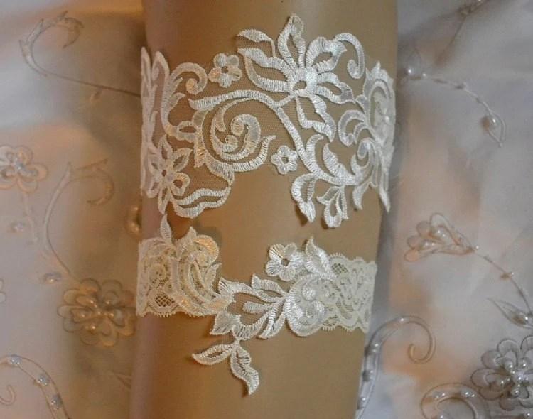 Items Similar To Ivory Lace Wedding Garter, Unique Ivory