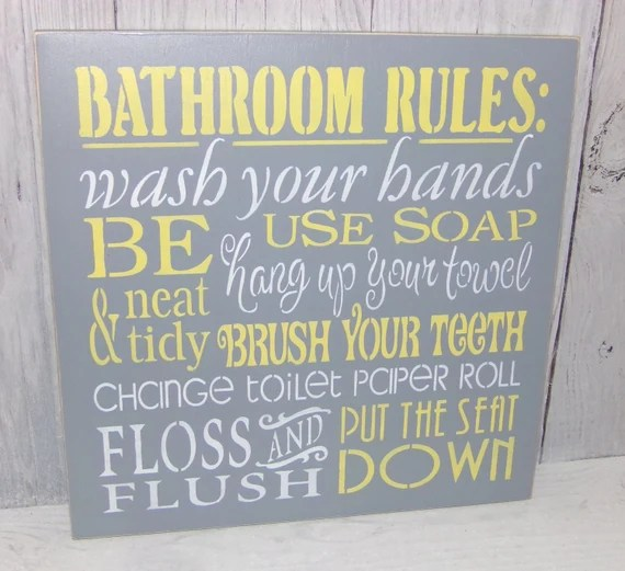 bathroom rules wash your hands sign bathroom sign change the