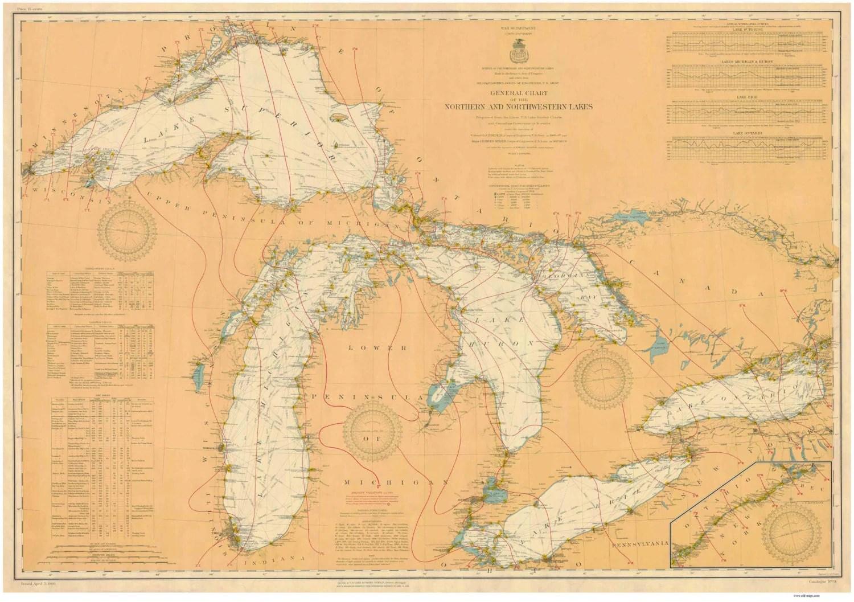 Great Lakes Nautical Map Reprint Great Lakes All