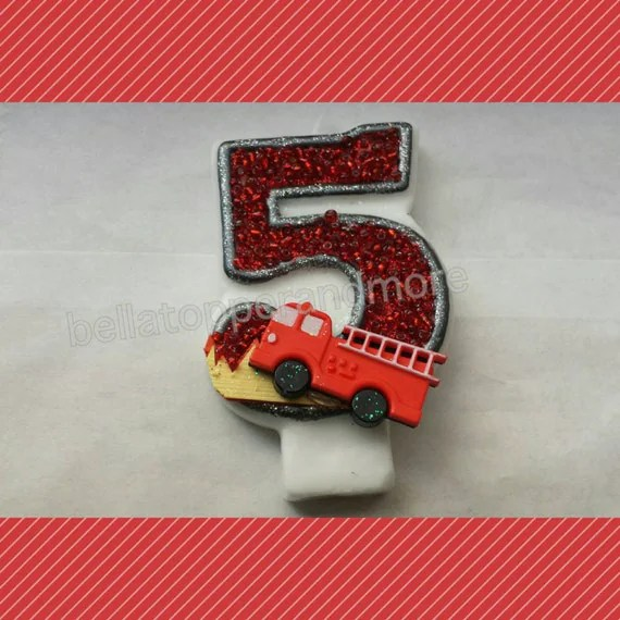 Fire Truck Birthday Candles