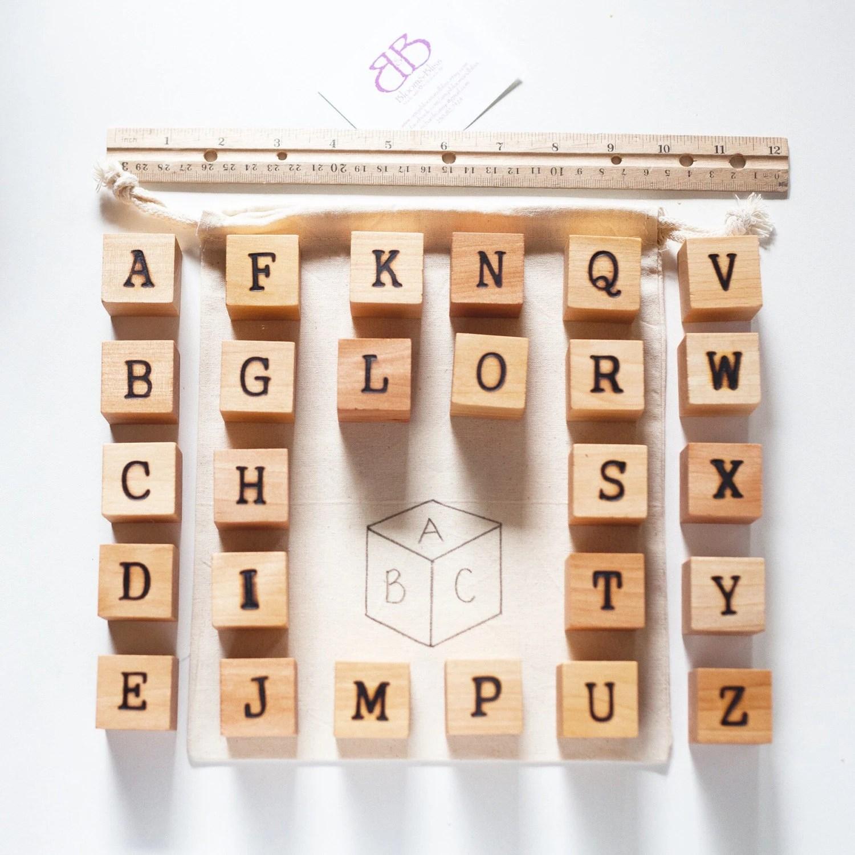 Wood Alphabet Block Set Alphabet Blocks Baby By