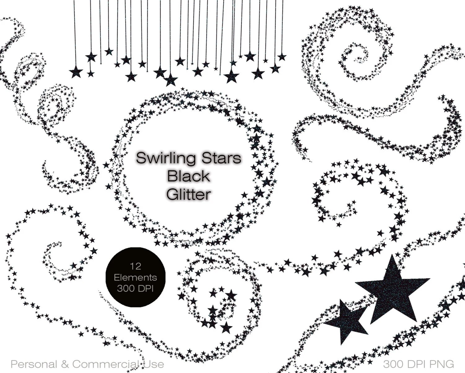 Black Glitter Stars Clipart Commercial Use Clipart By