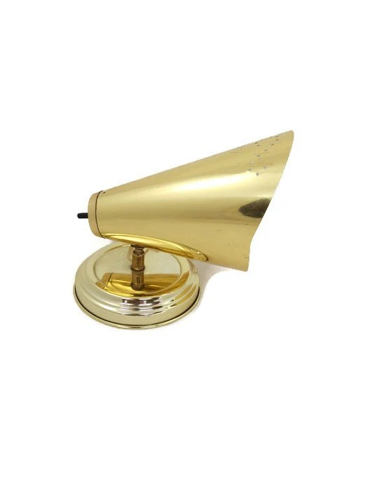 MId Century Modern Wall Sconce Gold Metal Cone Shaped Wall on Mid Century Modern Sconces id=44722