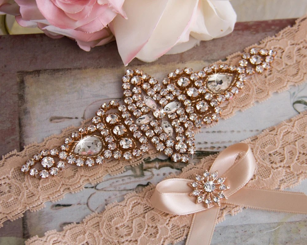 Rose Gold Wedding Garter Set Bridal Garter Set Blush Lace