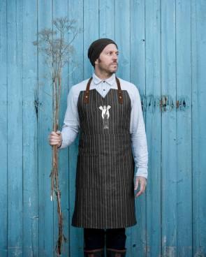 TABLIER de cuisine TABLEWEAR denim gris foncé et ligné blanc, bandes en cuir, Unisexe, 2 poches, style bistro.Fait au Québec - Pièce Unique