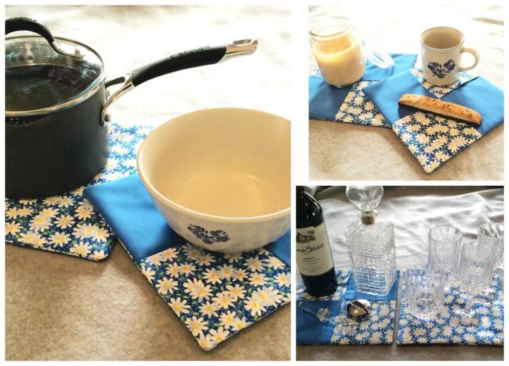 Potholder Set Quilted Kitchen Hot Pads Trivet Oversized Mug