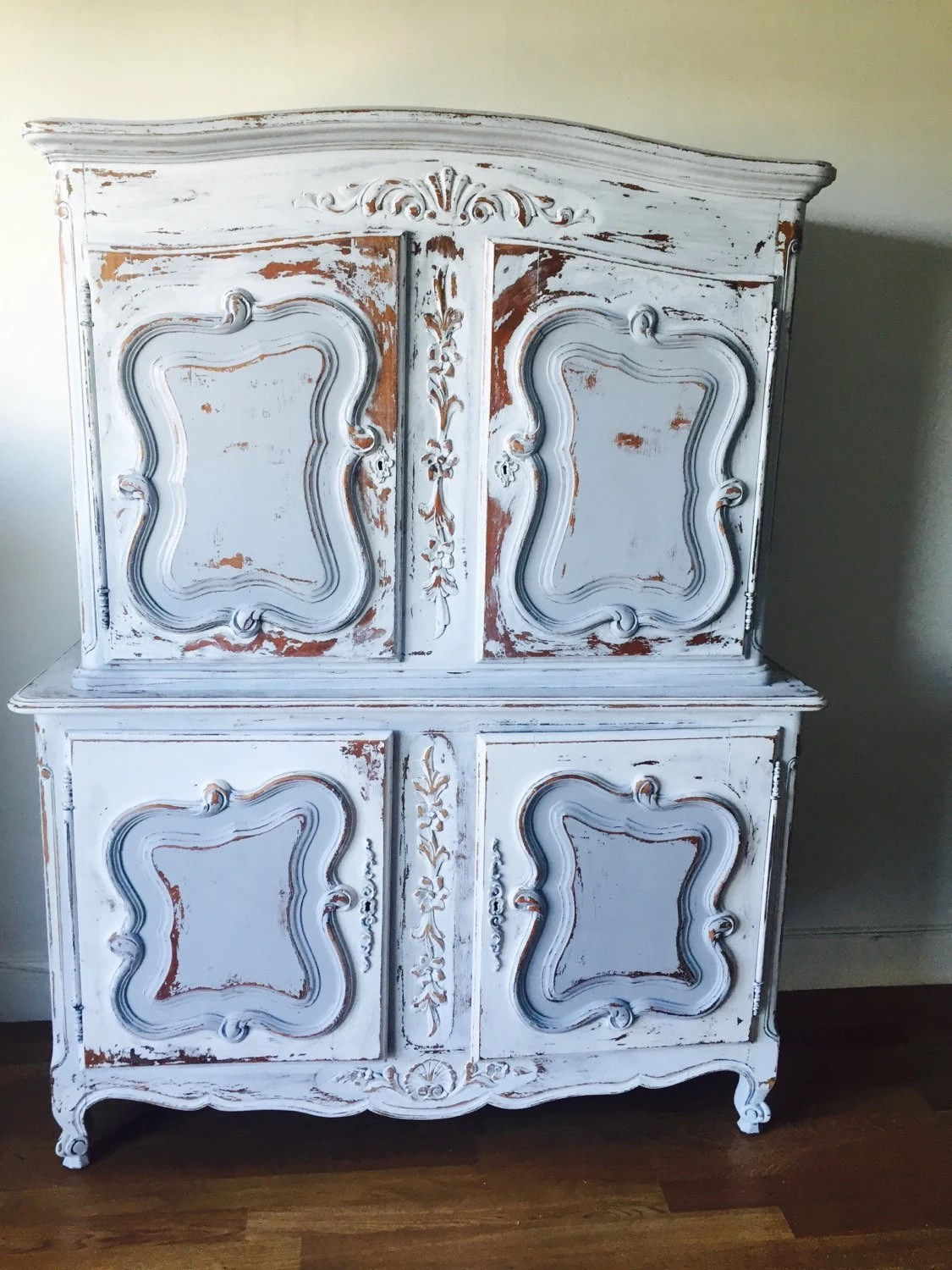 Holiday sale shabby chic coastal living armoire french for Separation decorative entre 2 pieces