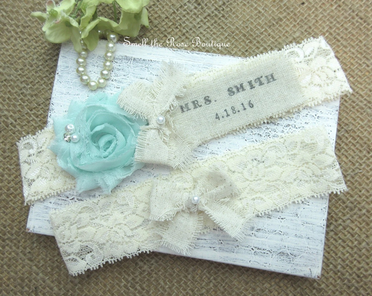 Personalized Monogrammed Wedding Garter Set Rustic Country