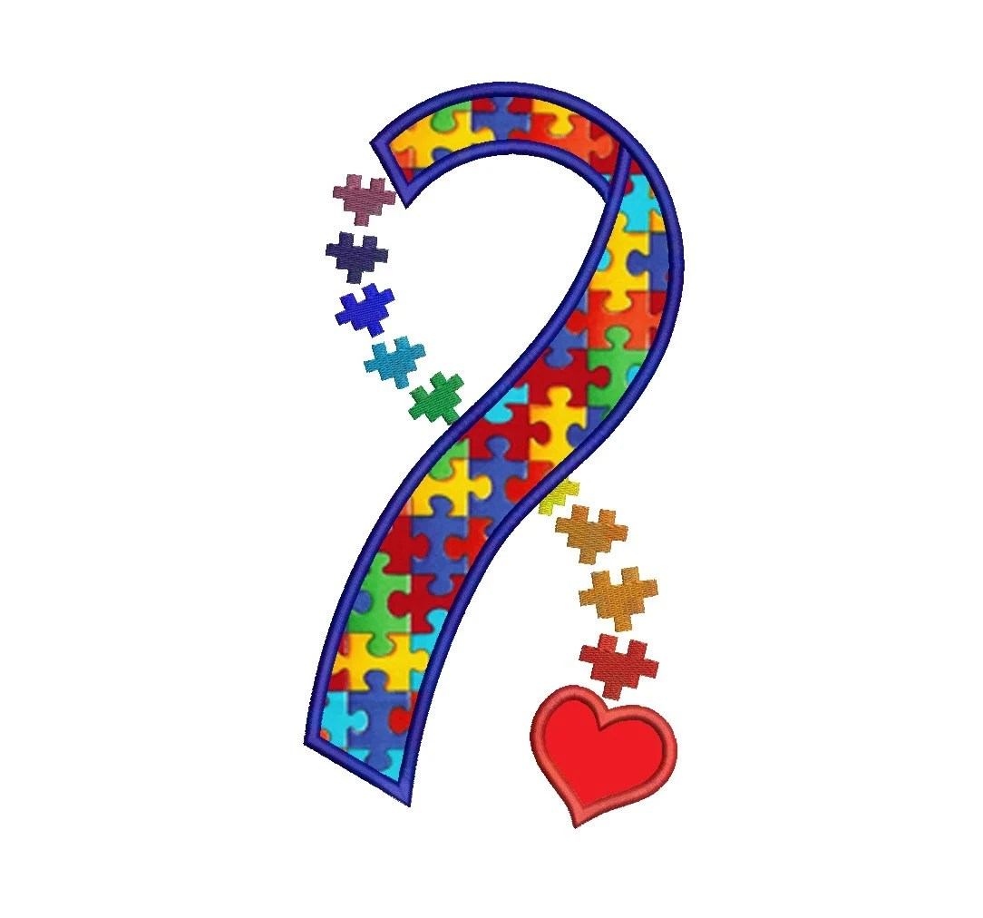 Heart Autism Awareness Ribbon Applique Machine Embroidery