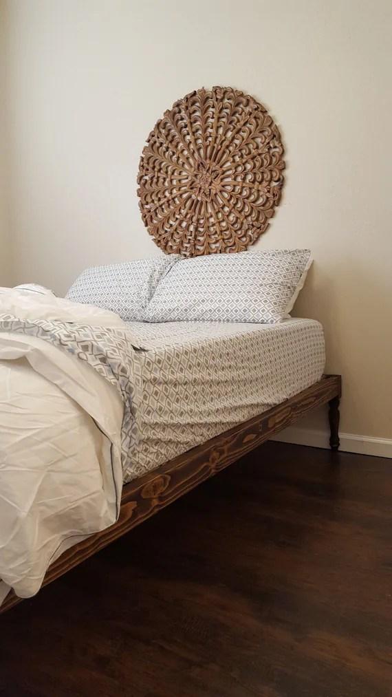 Eco Friendly Low VOC Platform Bed Bohemian Bed Turned Leg on Modern Boho Bed Frame  id=95514