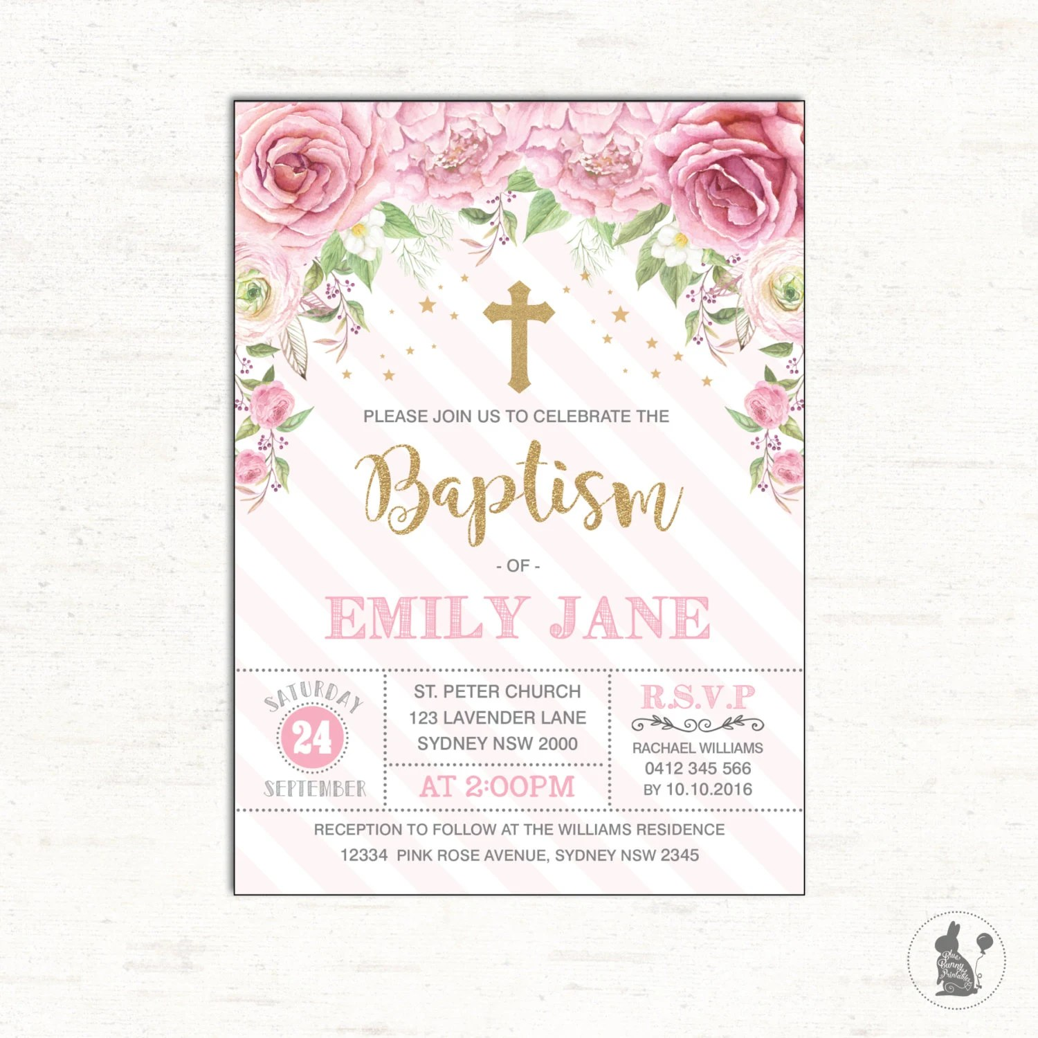 Baptism Invitation Pink Rose Christening Printable Invite