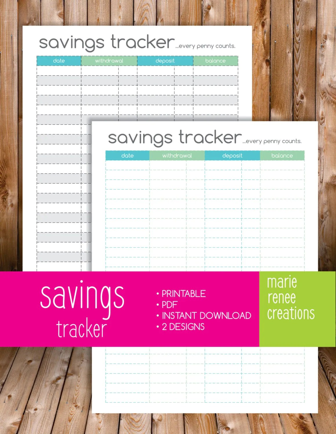New Savings Tracker Printable Half Inch Margins